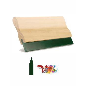 Rasqueta Madera con Goma Verde Perfil Lanza - Vinilos y Serigrafía