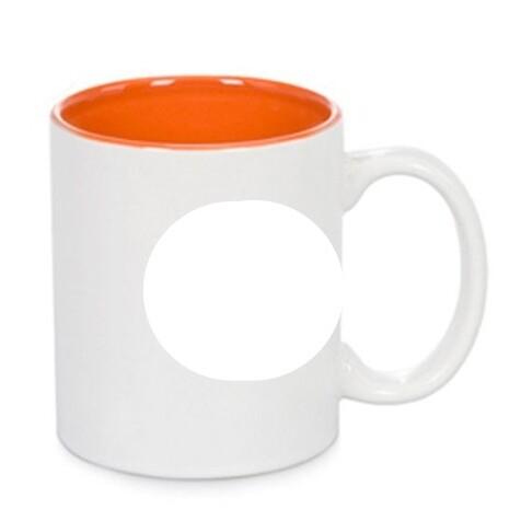 Taza Blanca Cerámica Color Interior Naranja - Vinilos y Serigrafía