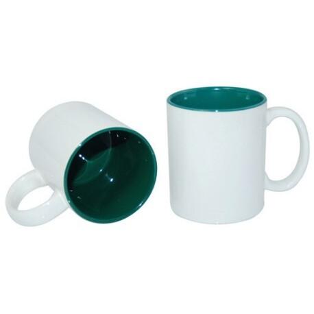 Taza Blanca Cerámica Color Interior Verde - Vinilos y Serigrafía