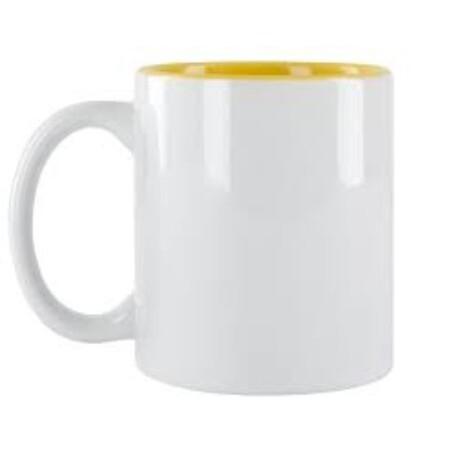 Taza Blanca Cerámica Color Interior Amarillo - Vinilos y Serigrafía