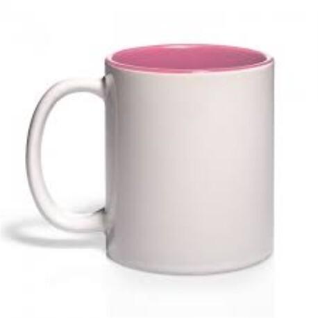 Taza Blanca Cerámica Color Interior Rosa - Vinilos y Serigrafía