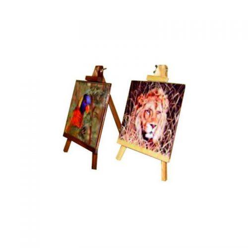 Caballete de Madera Oscuro Sublimación con azulejo 15 x15 - Vinilos y Serigrafia